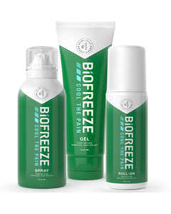 3 different Biofreeze products for fast acting pain relief: spray bottle, squeeze bottle & roll-on.