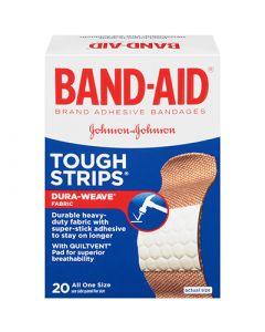 "Johnson & Johnson BAND AID Tough Strips 20/Box - 1"" x 3-1/2"""