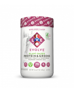 Evolve Proteins and Greens Protein Powder Drink Mix - 16 oz. - Case of 2 - Mixed Berry
