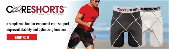 Coreshorts Banner with image of runner wearing Coreshorts, and two pairs of Coreshorts shown in two different colors: one pair in black and one in white.