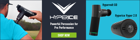 Hyperice Banner that shows a person using the percussion massager on their shoulder, with two products featured right: Hypervolt GO and Hyperce Vyper 2.0