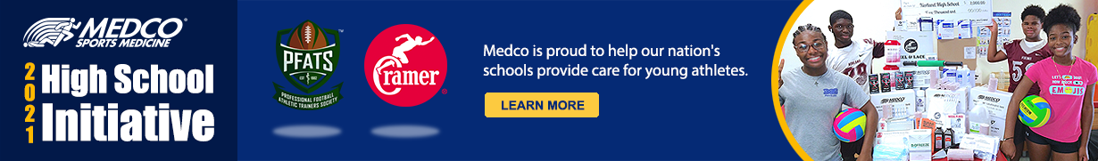Banner about Medco's PFATS Partnership for their 2021 High School Initiative that helps our nation's schools provide care for young athletes, with image of a group of young athletes shown right