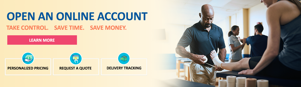 Banner that highlights the benefits of opening an online account with Medco to take control, save time and save money.