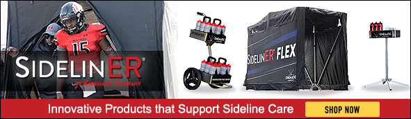 SidelinER Banner that shows a football player stepping out of the SidelinER medical tent with three different SidelinER products shown right: HydratER water cart, SidelinER Flex tent, and HydratER stand.